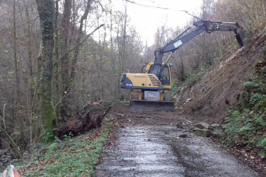 Ensanchamiento de pistas con excavadora en Gipuzkoa, Deba